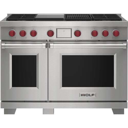 """Wolf - 48"""" Dual Fuel Range - 4 Burners, Infrared Charbroiler and Infrared Griddle"""