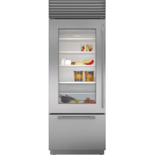 """See Details - 30"""" Classic Over-and-Under Refrigerator/Freezer with Glass Door"""