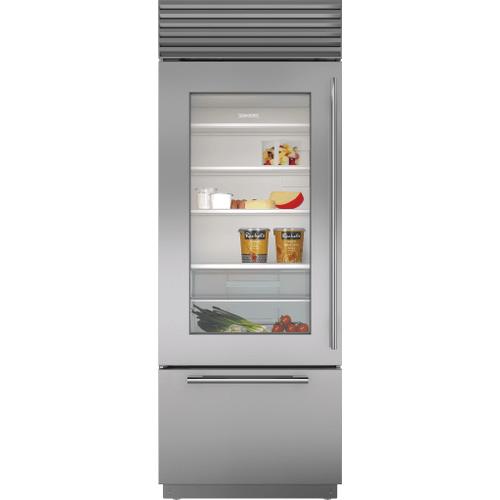 "Sub-Zero - 30"" Classic Over-and-Under Refrigerator/Freezer with Glass Door"