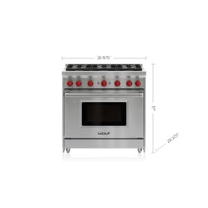 "Wolf - 36"" Gas Range - 6 Burners"