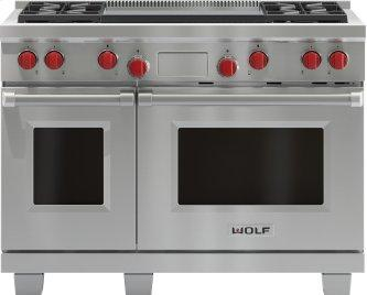 """Legacy Model - 48"""" Dual Fuel Range - 4 Burners and Infrared Dual Griddle"""