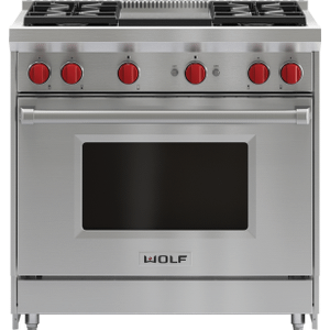 """Wolf36"""" Gas Range - 4 Burners and Infrared Griddle"""