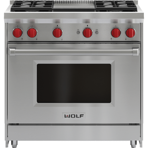 """Wolf - 36"""" Gas Range - 4 Burners and Infrared Griddle"""