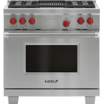 """WolfLegacy Model - 36"""" Dual Fuel Range - 4 Burners and Infrared Charbroiler"""