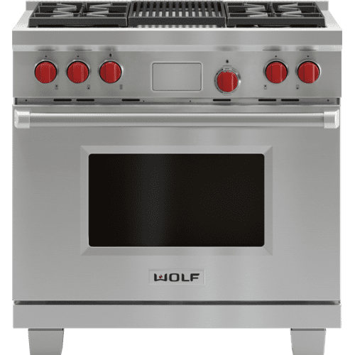 "Legacy Model - 36"" Dual Fuel Range - 4 Burners and Infrared Charbroiler"