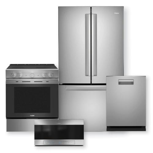 """HAIER 27 Cu. Ft. French Door Refrigerator & 30"""" Smart Slide-In Electric Range w/ Convection Package"""