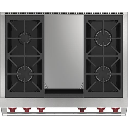 """Wolf - 36"""" Dual Fuel Range - 4 Burners and Infrared Griddle"""