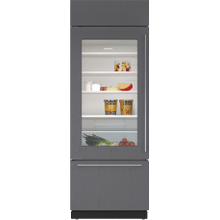 """See Details - 30"""" Classic Over-and-Under Refrigerator/Freezer with Glass Door - Panel Ready"""