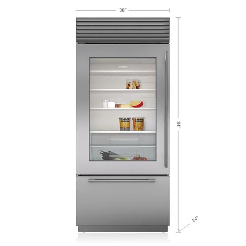 "Sub-Zero - 36"" Classic Over-and-Under Refrigerator/Freezer with Glass Door"