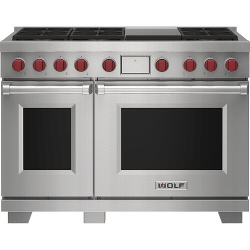 """Wolf - 48"""" Dual Fuel Range - 6 Burners and Infrared Griddle"""