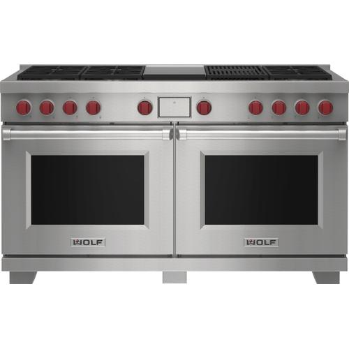 """Wolf - 60"""" Dual Fuel Range - 6 Burners, Infrared Charbroiler and Infrared Griddle"""