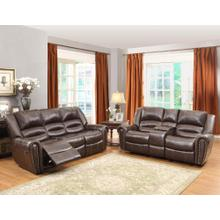 View Product - Reclining Sofa & Loveseat, Brown Leather