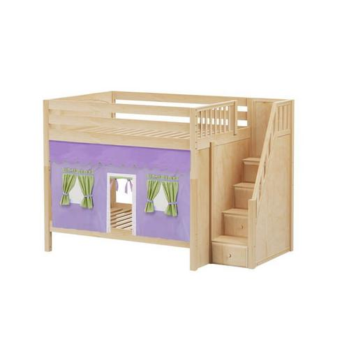 High Bunk Bed with Staircase on End & Underbed Curtains In Natural Finish