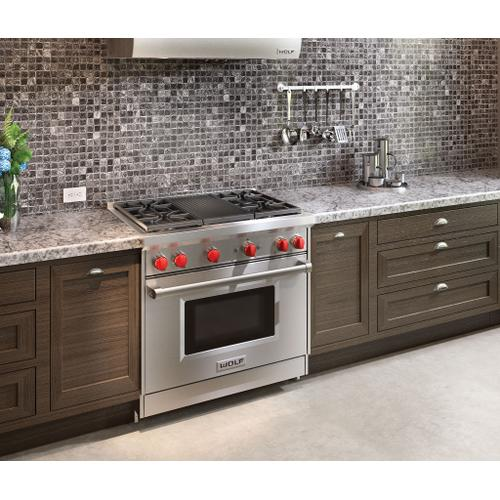 """Wolf - 36"""" Gas Range - 4 Burners and Infrared Charbroiler"""