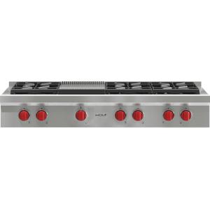 "Wolf - 48"" Sealed Burner Rangetop - 6 Burners and Infrared Griddle"