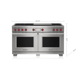 """Wolf - 60"""" Dual Fuel Range - 6 Burners and French Top"""