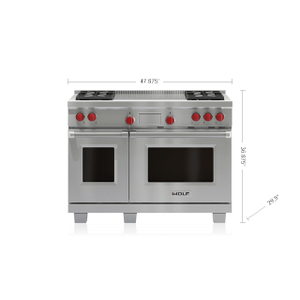 """Legacy Model - 48"""" Dual Fuel Range - 4 Burners and French Top"""