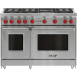 "Wolf•Automatic Reignition •Infrared Charbroiler •	Continuous Cast-Iron Grates •	2.5/4.4 Cu Ft Oven Capacities •Optional 5"", 10"" and 20"" Stainless Steel Risers"