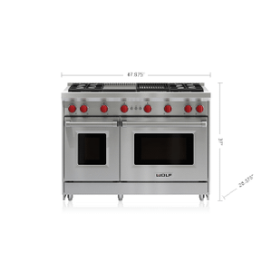 """Wolf - 48"""" Gas Range - 4 Burners, Infrared Charbroiler and Infrared Griddle"""