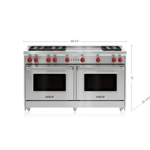 """Wolf - 60"""" Gas Range - 6 Burners and French Top"""