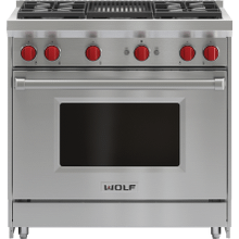 """See Details - 36"""" Gas Range - 4 Burners and Infrared Charbroiler"""