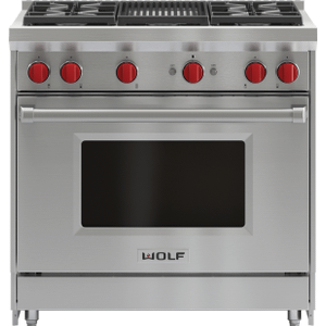"""Wolf36"""" Gas Range - 4 Burners and Infrared Charbroiler"""