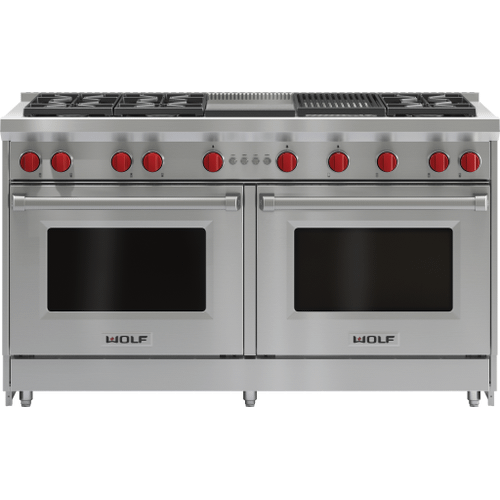 """Wolf - 60"""" Gas Range - 6 Burners, Infrared Charbroiler and Infrared Griddle"""