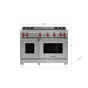 """Wolf - 48"""" Gas Range - 4 Burners and Infrared Dual Griddle"""