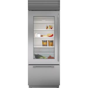 "Subzero30"" Classic Over-and-Under Refrigerator/Freezer with Glass Door"