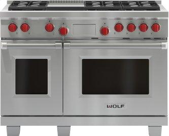 """Legacy Model - 48"""" Dual Fuel Range - 6 Burners and Infrared Griddle"""