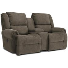 Genet Power Tilt Headrest Rocker Console Loveseat Chaise in Grey Signature Series Leather