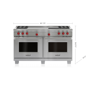 """Legacy Model - 60"""" Dual Fuel Range - 4 Burners, Infrared Griddle and French Top"""