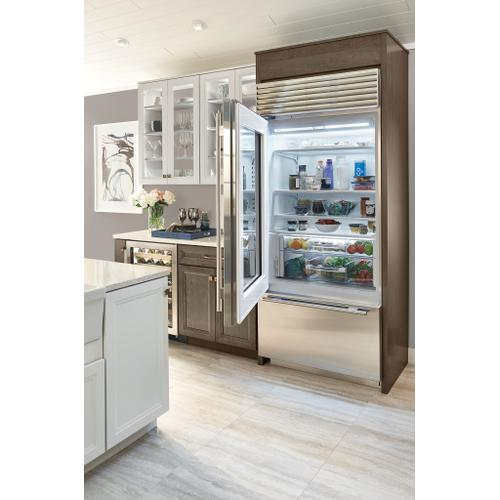 """Sub-Zero - 36"""" Classic Over-and-Under Refrigerator/Freezer with Glass Door - Panel Ready"""