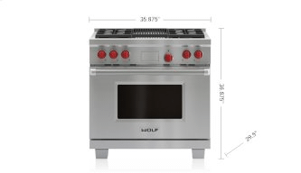 """Legacy Model - 36"""" Dual Fuel Range - 4 Burners and Infrared Charbroiler"""