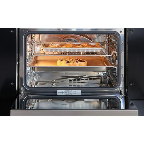"""Wolf - 30"""" M Series Contemporary Black Glass Convection Steam Oven with Retractable Handle"""