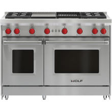 """See Details - 48"""" Gas Range - 4 Burners, Infrared Charbroiler and Infrared Griddle"""