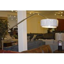 Chrome over hang floor lamp with weighted base.