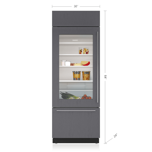 """Sub-Zero - 30"""" Classic Over-and-Under Refrigerator/Freezer with Glass Door - Panel Ready"""
