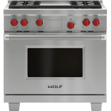 """View Product - Legacy Model - 36"""" Dual Fuel Range - 4 Burners and Infrared Griddle"""