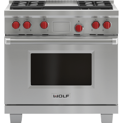 "Legacy Model - 36"" Dual Fuel Range - 4 Burners and Infrared Griddle"