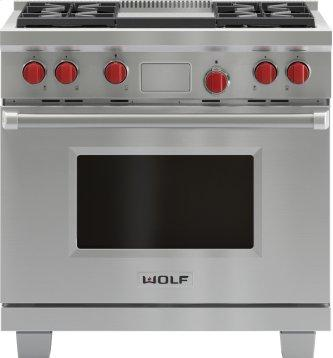 """Legacy Model - 36"""" Dual Fuel Range - 4 Burners and Infrared Griddle"""