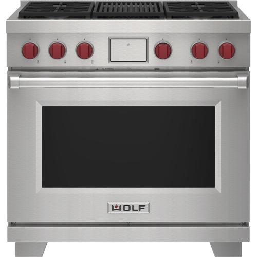 """Wolf - 36"""" Dual Fuel Range - 4 Burners and Infrared Charbroiler"""