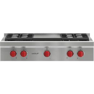 "Wolf36"" Sealed Burner Rangetop - 4 Burners and Infrared Griddle"