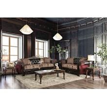 5-Piece Living Room Sets with Sofa, Loveseat, Coffee Table and 2 End Tables in Burgundy and Dark Brown