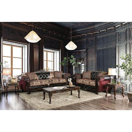 Furniture of America - 5-Piece Living Room Sets with Sofa, Loveseat, Coffee Table and 2 End Tables in Burgundy and Dark Brown
