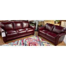 See Details - Chesapeake Burgundy Leather Sofa & Loveseat