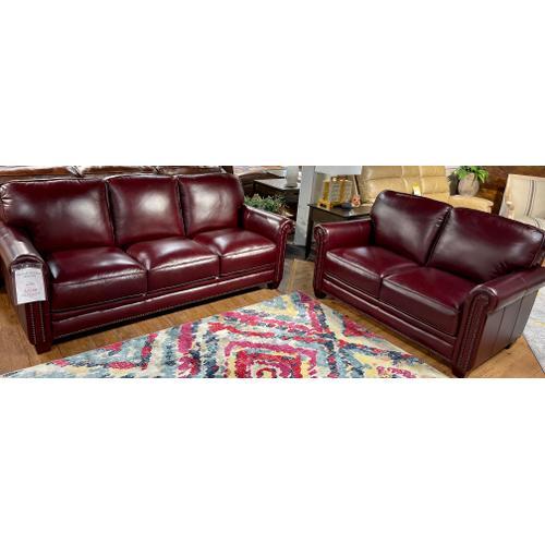 Futura - Chesapeake Burgundy Leather Sofa & Loveseat