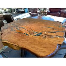 Locally Crafted Juniper, copper and turquoise Pub Table with Juniper Base