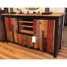 Authentic Mmulti-color barnwood TV console.