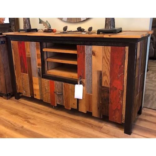 Authentic Mmulti-color barnwood TV console.